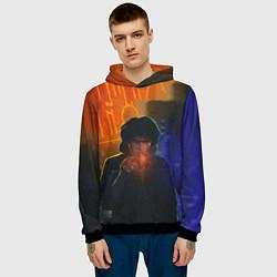 Толстовка-худи мужская Виктор Цой в ночи цвета 3D-черный — фото 2
