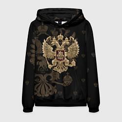 Толстовка-худи мужская Золотой Герб России цвета 3D-черный — фото 1