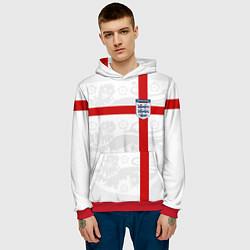 Толстовка-худи мужская Сборная Англии цвета 3D-красный — фото 2