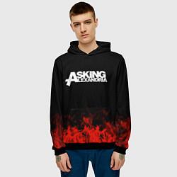 Толстовка-худи мужская Asking Alexandria: Flame цвета 3D-черный — фото 2