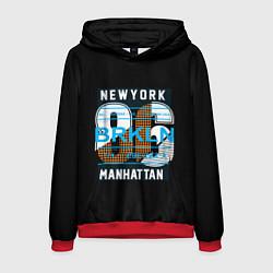 Толстовка-худи мужская New York: Manhattan 86 цвета 3D-красный — фото 1