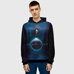 Толстовка-худи мужская No Man's Sky: Dark Space цвета 3D-черный — фото 2