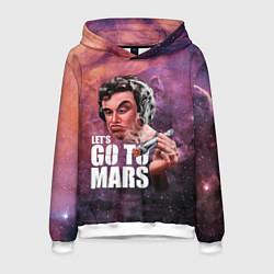 Толстовка-худи мужская Elon Musk: Let's go to Mars цвета 3D-белый — фото 1
