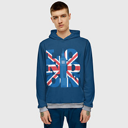 Толстовка-худи мужская London: Great Britain цвета 3D-меланж — фото 2