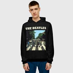 Толстовка-худи мужская The Beatles: Abbey Road цвета 3D-черный — фото 2