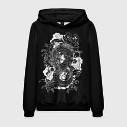 Толстовка-худи мужская Японский дракон цвета 3D-черный — фото 1