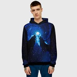 Толстовка-худи мужская Волки силуэты звездное небо цвета 3D-черный — фото 2