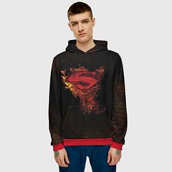 Толстовка-худи мужская Superman цвета 3D-красный — фото 2