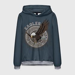 Толстовка-худи мужская Летящий орёл цвета 3D-меланж — фото 1