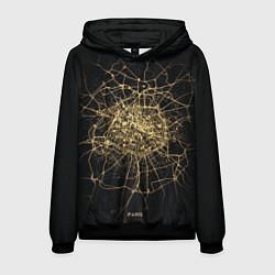 Толстовка-худи мужская Ночная карта Парижа цвета 3D-черный — фото 1