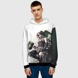 Толстовка-худи мужская Опасная Харли Квинн с молотом цвета 3D-черный — фото 2