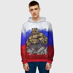 Толстовка-худи мужская Русский медведь цвета 3D-красный — фото 2
