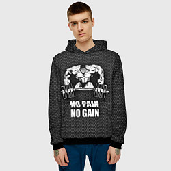 Толстовка-худи мужская No pain, no gain цвета 3D-черный — фото 2