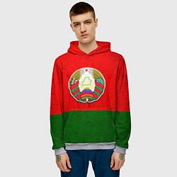 Толстовка-худи мужская Герб Беларуси цвета 3D-меланж — фото 2