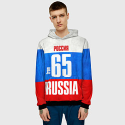 Толстовка-худи мужская Russia: from 65 цвета 3D-черный — фото 2