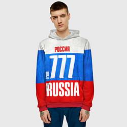 Толстовка-худи мужская Russia: from 777 цвета 3D-красный — фото 2