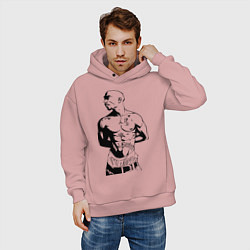 Толстовка оверсайз мужская 2pac цвета пыльно-розовый — фото 2