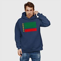 Толстовка оверсайз мужская Чечня: флаг цвета тёмно-синий — фото 2