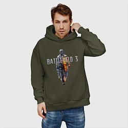 Толстовка оверсайз мужская Battlefield 3 цвета хаки — фото 2
