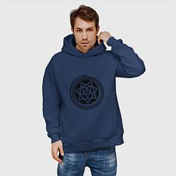 Толстовка оверсайз мужская HIM Pentagram цвета тёмно-синий — фото 2