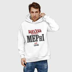 Толстовка оверсайз мужская MEPHI цвета белый — фото 2