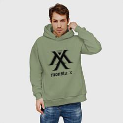 Толстовка оверсайз мужская Monsta X цвета авокадо — фото 2