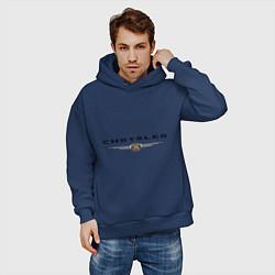 Толстовка оверсайз мужская Chrysler logo цвета тёмно-синий — фото 2