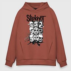 Толстовка оверсайз мужская Slipknot Faces цвета кирпичный — фото 1