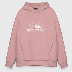 Толстовка оверсайз мужская Hope Count: Mountain цвета пыльно-розовый — фото 1