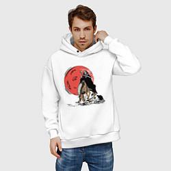 Толстовка оверсайз мужская Темный всадник цвета белый — фото 2