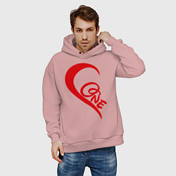 Толстовка оверсайз мужская One love: for his цвета пыльно-розовый — фото 2