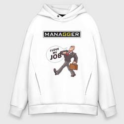 Толстовка оверсайз мужская MANAGGER цвета белый — фото 1