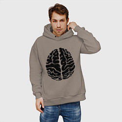 Толстовка оверсайз мужская Он: мозг цвета утренний латте — фото 2