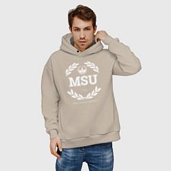 Толстовка оверсайз мужская MSU цвета миндальный — фото 2