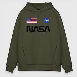 Толстовка оверсайз мужская NASA НАСА цвета хаки — фото 1