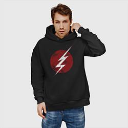 Толстовка оверсайз мужская The Flash logo цвета черный — фото 2