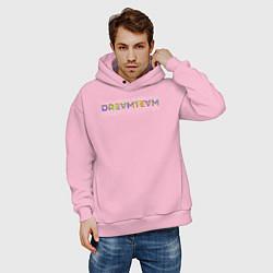 Толстовка оверсайз мужская Dream team цвета светло-розовый — фото 2