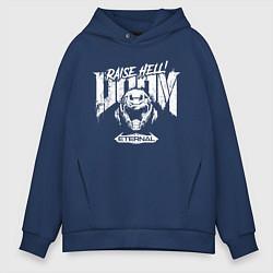 Толстовка оверсайз мужская DOOM Eternal цвета тёмно-синий — фото 1