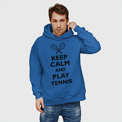 Толстовка оверсайз мужская Keep Calm & Play tennis цвета синий — фото 2