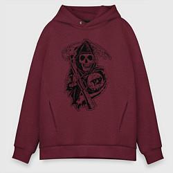 Толстовка оверсайз мужская Sons Of Anarchy: Death цвета меланж-бордовый — фото 1