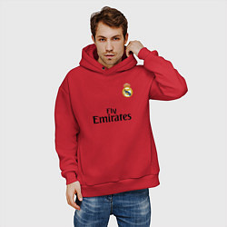 Толстовка оверсайз мужская Real Madrid: Fly Emirates цвета красный — фото 2