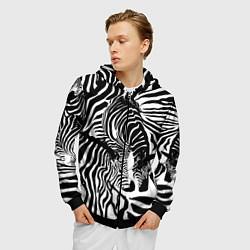 Толстовка 3D на молнии мужская Полосатая зебра цвета 3D-черный — фото 2