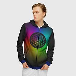 Толстовка 3D на молнии мужская Coldplay Colour цвета 3D-синий — фото 2