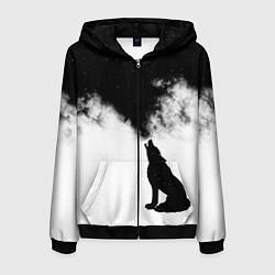 Толстовка 3D на молнии мужская Galaxy wolf цвета 3D-черный — фото 1