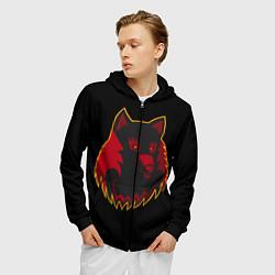 Толстовка 3D на молнии мужская Wolf Logo цвета 3D-черный — фото 2