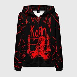 Толстовка 3D на молнии мужская Korn цвета 3D-черный — фото 1