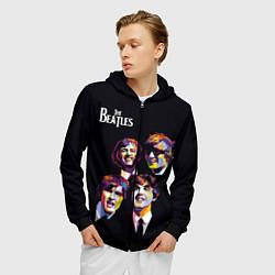 Толстовка 3D на молнии мужская The Beatles цвета 3D-черный — фото 2