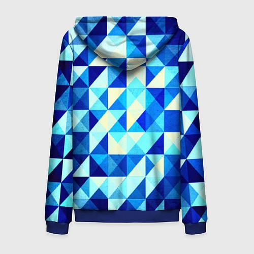 Мужская толстовка на молнии Синяя геометрия / 3D-Синий – фото 2
