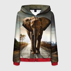 Толстовка 3D на молнии мужская Дикий слон цвета 3D-красный — фото 1