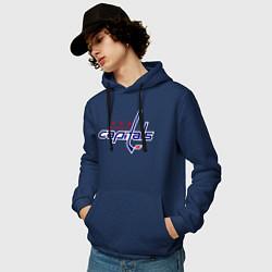 Толстовка-худи хлопковая мужская Washington Capitals цвета тёмно-синий — фото 2